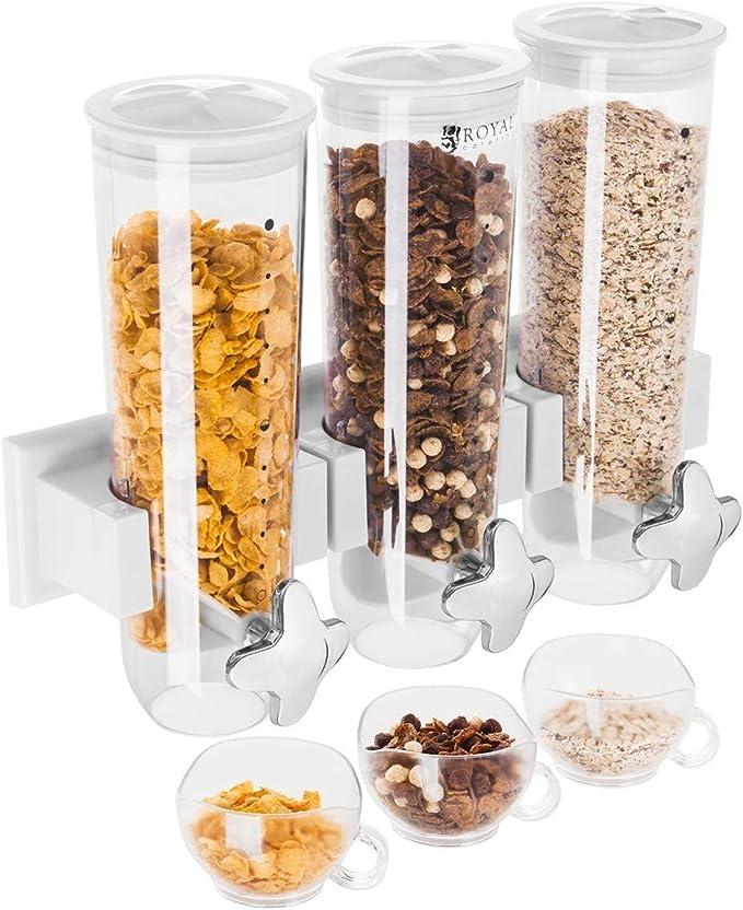 17 opinioni per Royal Catering Dispenser per Cereali con 3 Contenitori (Capacità 4,5 l)