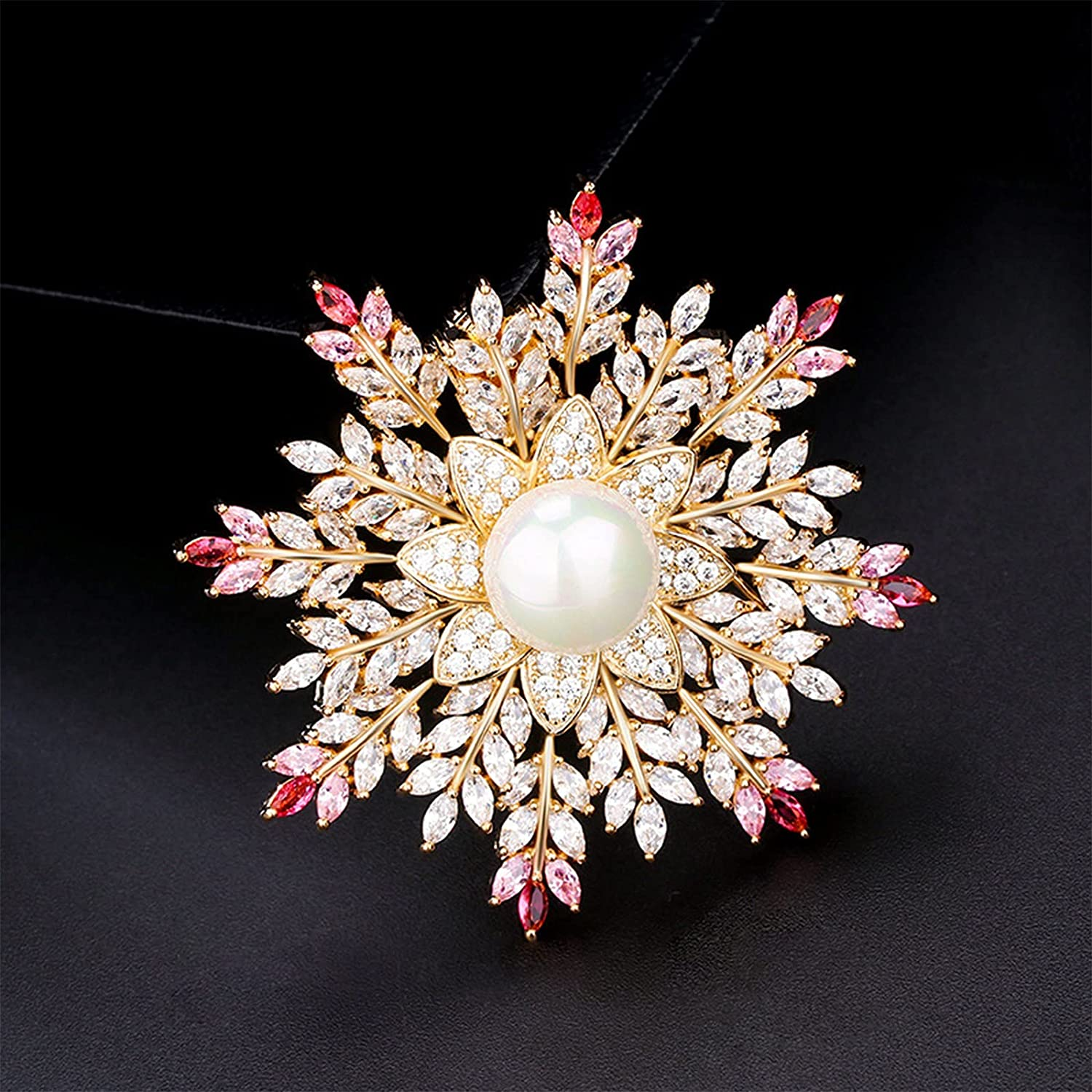erfgh Simple Louisville-Jefferson County Mall Atmosphere Snowflake Trust Jew Brooch Personalized Pearl