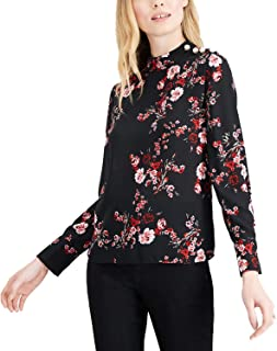 Women's Faux Pearl Embellished Floral-Print Blouse