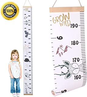 All About Kids Growth Chart, Wood Frame Fabric Canvas Height Measurement Ruler from Baby to Adult for Child's Room Decorat...