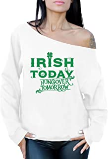 Awkward Styles Women's Irish Today Hungover Tomorrow St.Paddy's Day Graphic Off Shoulder Tops Oversized Sweatshirt