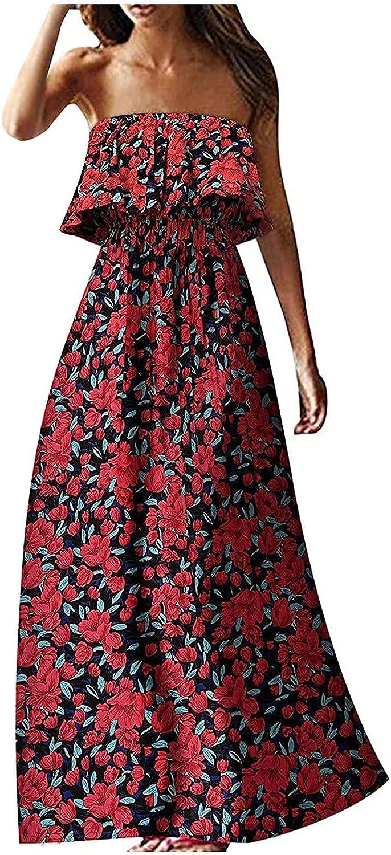 Summer Dress for Women Tube Top Dress Summer Sexy Off Shoulder Bohemian Long Dress Beach Dress Comfy Daily Wear Red