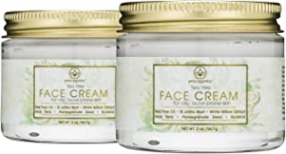 Tea Tree Oil Acne Cream - (2 pack) Natural & Organic Facial Moisturizer with 7X Ingredients For Rosacea, Cystic Acne, Blackheads & Redness For Oily, Acne Prone Skin 2oz Era-Organics