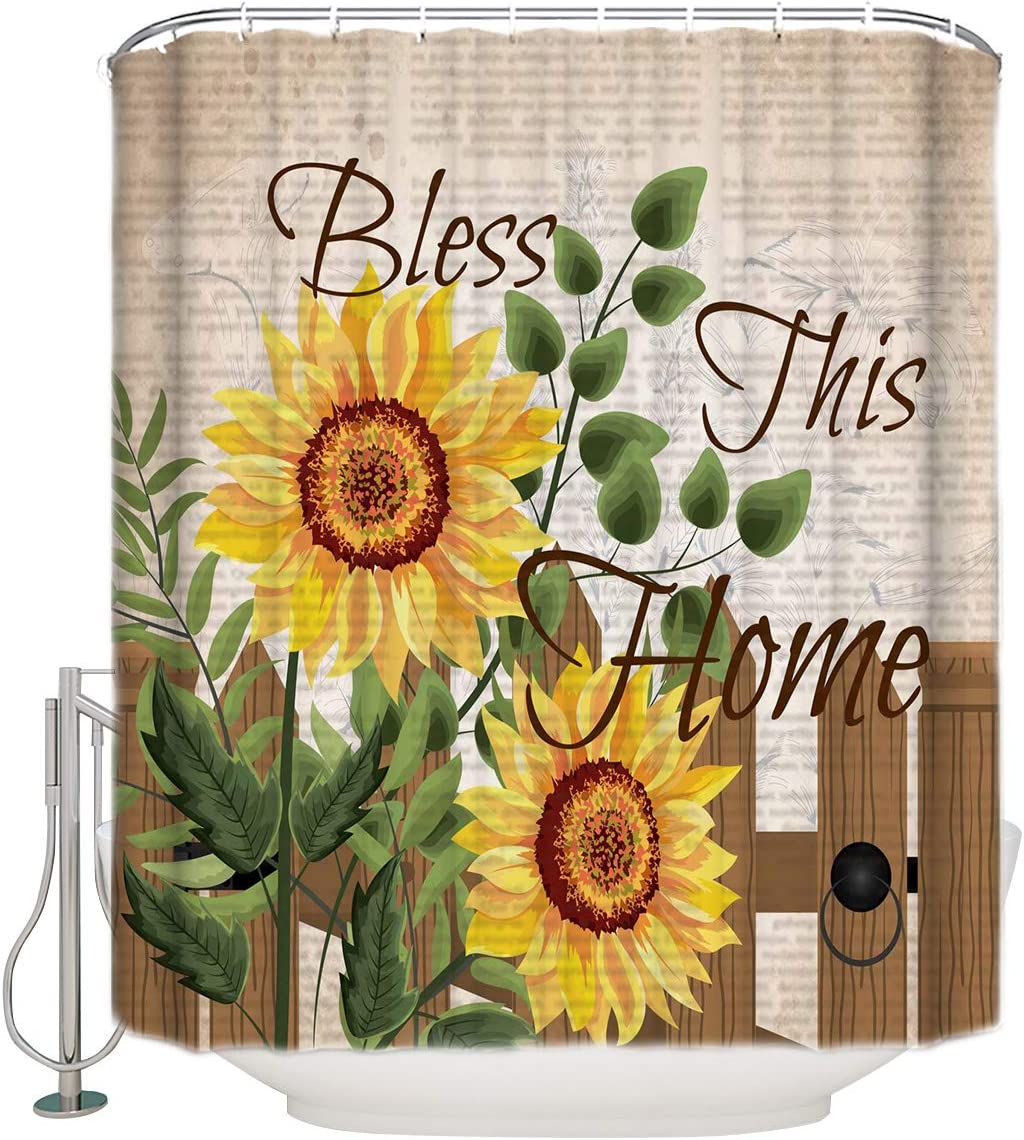 free 72x84 Inches Shower Curtain Sunflower B Background 4 years warranty Vintage Text