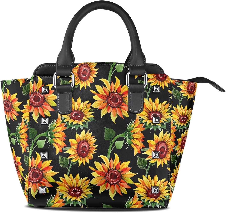 My Little Nest Women's Top Handle Satchel Handbag Watercolor Wildflower Sunflower Ladies PU Leather Shoulder Bag Crossbody Bag