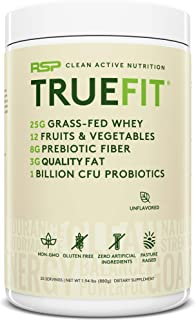 RSP TrueFit - Grass Fed Lean Meal Replacement Protein Shake, All Natural Whey Protein Powder with Fiber & Probiotics, Non-GMO, Gluten-Free & No Artificial Sweeteners, 2LB (Packaging May Vary)