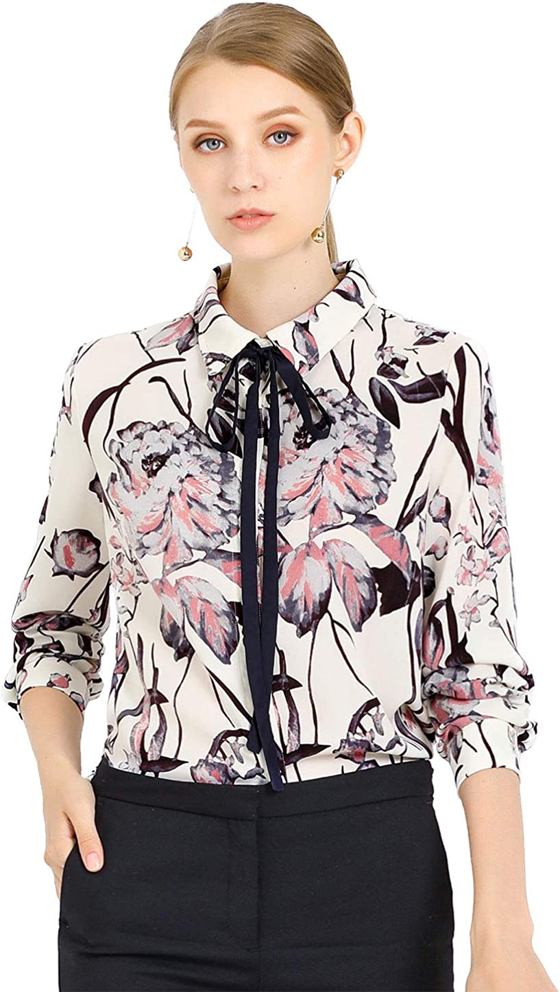 Allegra K Women's Tie Neck Floral Shirt Abstract Long Sleeve Office Point Collar Blouse Top