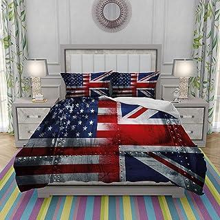 REIOIYE Edredón- Ropa de Cama,Alliance Togetherness Theme Composition of UK and USA Flags Vintage,Microfibra,edredón 1 edredón 240×260CM y 2 Fundas de Almohada 50×80CM