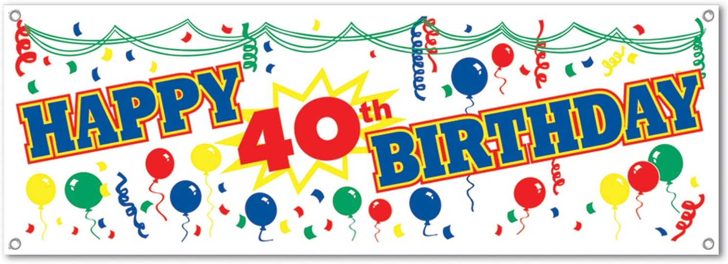 Amazon Com Happy 40th Birthday Sign Banner Party Accessory 1 Count 1 Pkg Kitchen Dining