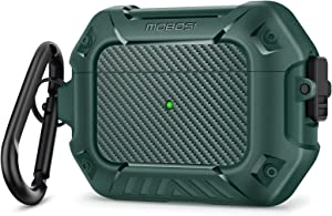 MOBOSI Compatible with AirPods Pro Case, Full-Body Protective Secure Lock Clip Shockproof Hard Shell Case Cover with Keychain for Airpod Pro Wireless Charging Case, Green