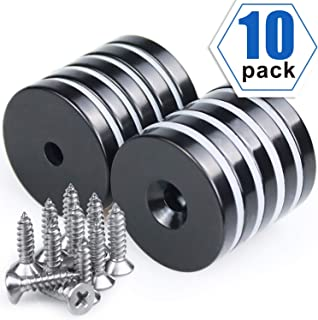 "1.26""D x 0.2""H Black Epoxy Coated Neodymium Disc Countersunk Hole Magnets. Strong Permanent Rare Earth Magnets with Screws - Pack of 10"