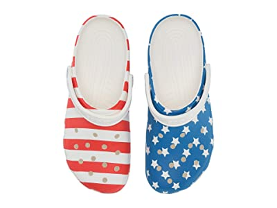 Crocs Classic American Flag Clog (White/Multi) Shoes