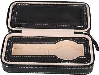 Bärbar dragkedjeklocka förvaringslåda, PU läder klockfodral arrangör män & kvinnor klocka collector box även för smycken m...