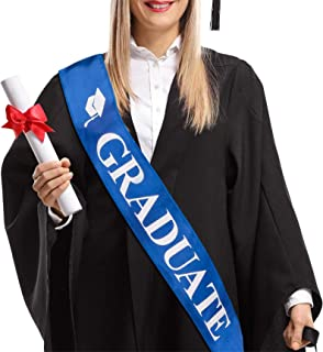 Graduate Sash Class of 2021, Blue Satin with White Fonts, Gift for Congrats Grad Party Favor Supplies Decoration Commencem...