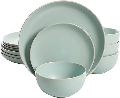 Gibson Home Rockaway 12 Piece Dinnerware, Teal Matte -