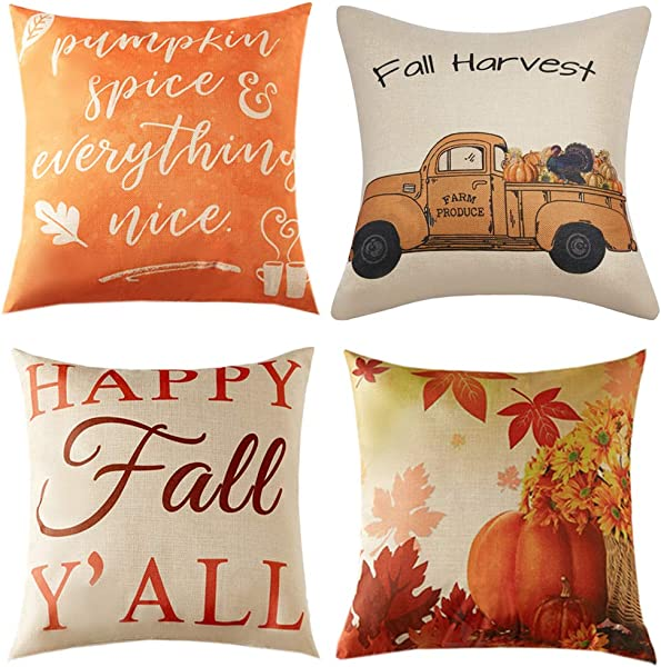 Anickal Set Of 4 Fall Pillow Covers Autumn Theme Farmhouse Decorative Throw Pillow Covers 18x18 Inch For Fall Decorations