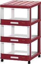 Cosmoplast IFHHST378R2 3 Drawer Storage Cabinet with Wheels, Dark Red, W 40.0 x H 70.0 x D 50.0 cm, Plastic