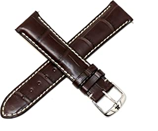 Jacques Lemans 21MM Dark Brown Genuine Alligator Leather Watch Strap Band with Silver Stainless Steel JL Buckle
