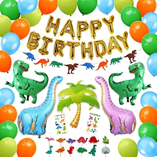 Ultimate Dinosaur Party Supplies, 92 Pack Dino Theme Birthday Decorations Set for Boys and Girls - Happy Birthday Banner, Cupcake Toppers, Inflatable T-Rex, Balloons, Tattoos for Kids - PartyBuzz