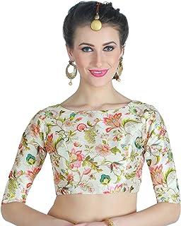 39ee825f4c06b4 Studio Shringaar Women's Poly Silk Digital Printed Blouse with Boat Neck