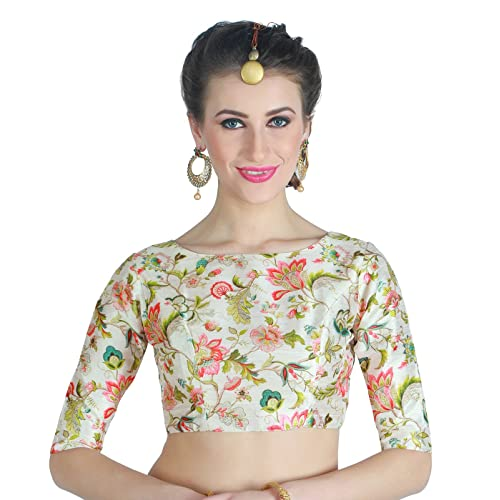 0d79ae2ee4b2b9 Studio Shringaar Women s Poly Silk Digital Printed Blouse with Boat Neck