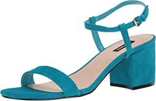NINE WEST Women's Ankle Strap, 2 Piece Sandal Heeled, Medium Blue, 10 M