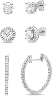 MIA SARINE Sterling Silver Round Cubic Zirconia Four Prong Stud, Halo Stud and Huggie Hoop Earring Set for Women (Various Colors)