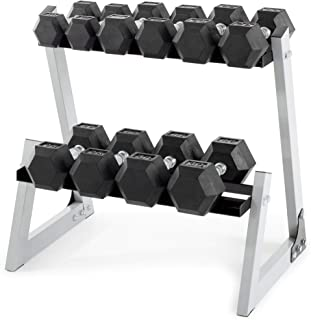 Weider 200 lb Rubber Hex Dumbbell Weight Set, 10-30 lb with Rack Box (White)