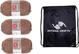 Red Heart Knitting Yarn Dreamy Dark Taupe 3-Skein Factory Pack (Same Dyelot) E861-8360 Bundle with 1 Artsiga Crafts Project Bag
