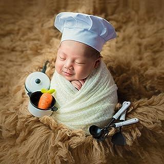 ac00f03c1776 iKulilky Bebé recién Nacido Chef Sombrero Niños Niñas Accesorios de  fotografía Trajes Chef Blanco Disfraz Chef