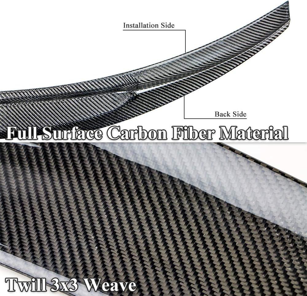 M Style Sedan AeroBon Real Carbon Fiber Trunk Spoiler Compatible with 2013-20 Audi A3// S3// RS3 MK3 8V
