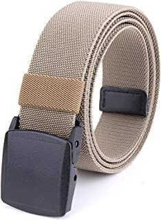Braided Elastic Stretch Woven Belt with Automatic Sliding Buckle, Canvas Belt With Plastic Buckle (Color : Khaki, Size : 120cm)