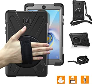 Samsung Galaxy Tab A 8.0 Case 2018 with Hand Strap,SM-T387 Heavy Duty Three Layer Full-Body Rugged Protective Shockproof Case Cover with 360 Degree Rotatable Stand and Shoulder Strap for Kids,Black