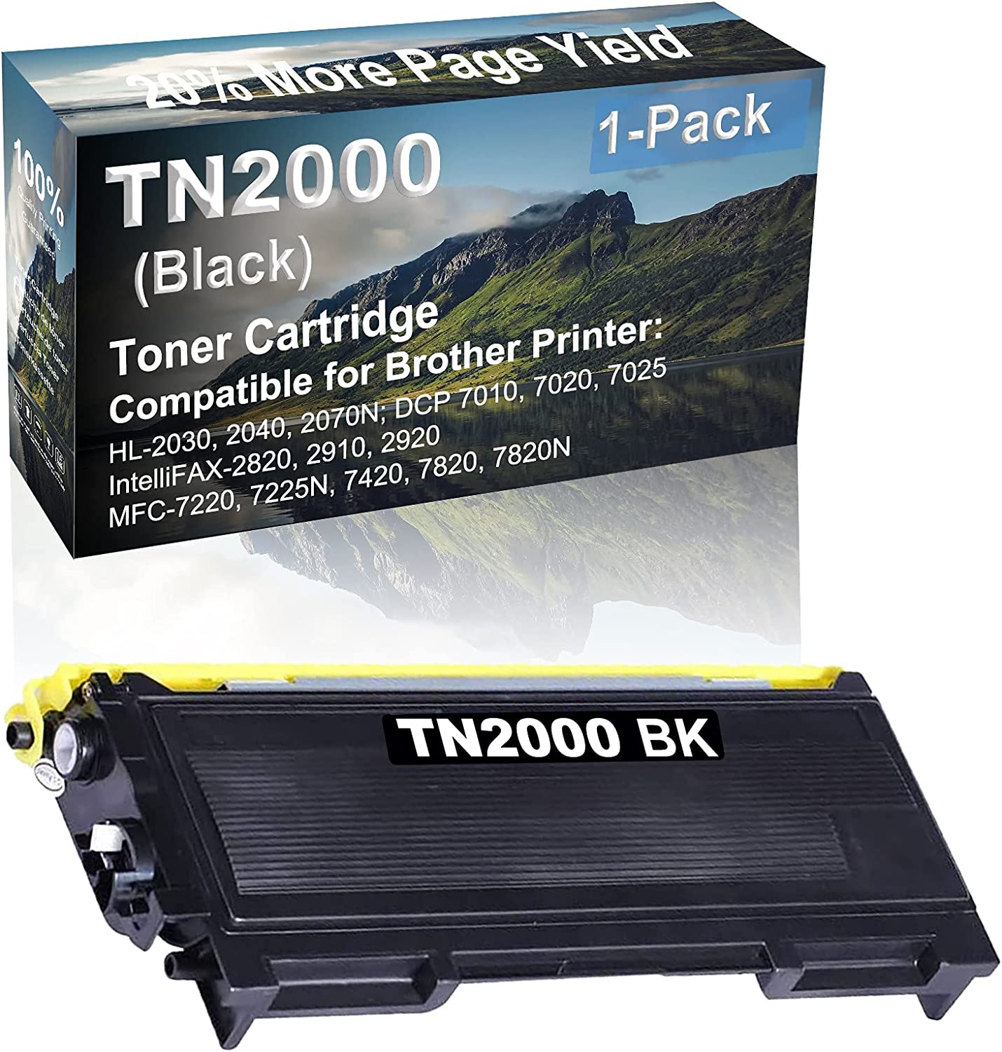 1-Pack Compatible High Capacity TN2000 Toner Cartridge use for Brother HL-2030, 2040, 2070N; DCP 7010, 7020, 7025 Printer (Black)