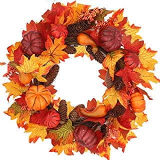 CEWOR Fall Wreath Artificial Maple Wreath Autumn Wreath with Fall Leaves Pumpkin Pinecone for Halloween and Thanksgiving Home Indoor or Outdoor Arrangement Decoration