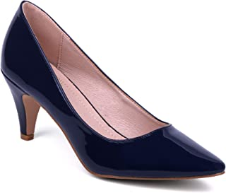 J.STIEN Women Classic Pointed Toe Mid Heel Pump