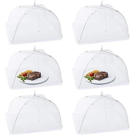Homealexa 6pcs Cloche Alimentaire Pliable Anti-Mouche Couvercle de Nourriture en Maille Pliant Tente Parapluie Anti-Insectes Anti-moustiques Protection pour Barbecue Pique-Nique Aliments 44x44x30 cm