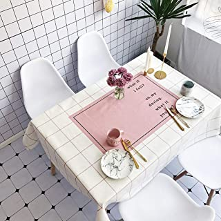Simple Modern kitchen/home tools Pink Plaid Pattern Waterproof Anti-scalding Rectangle Cotton and Linen Table Cloth,Simple...