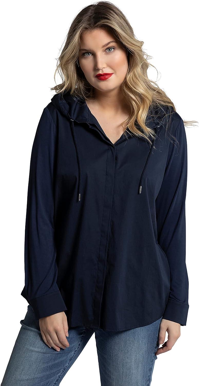 Ulla Popken Womenswear Plus Size Curvy Oversize Mixed Fabric Button Front Long Sleeve Hooded Shirt 794284