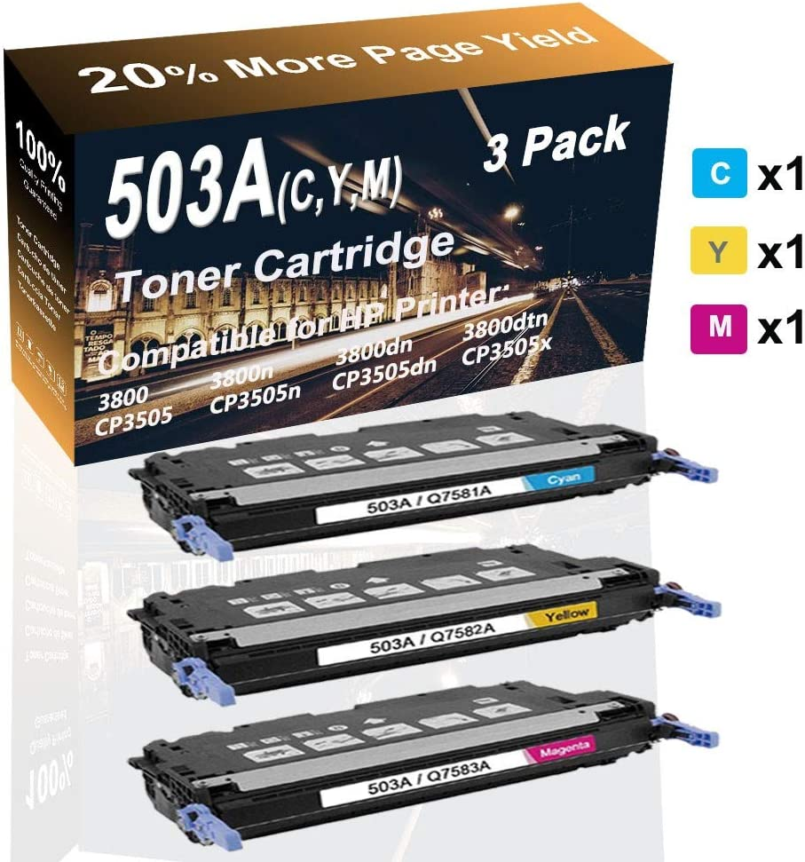 3-Pack (C+Y+M) Compatible 3800 3800dn 3800dtn Printer Cartridge (High Capacity) Replacement for HP 503A (Q7581A Q7582A Q7583A) Printer Toner Cartridge