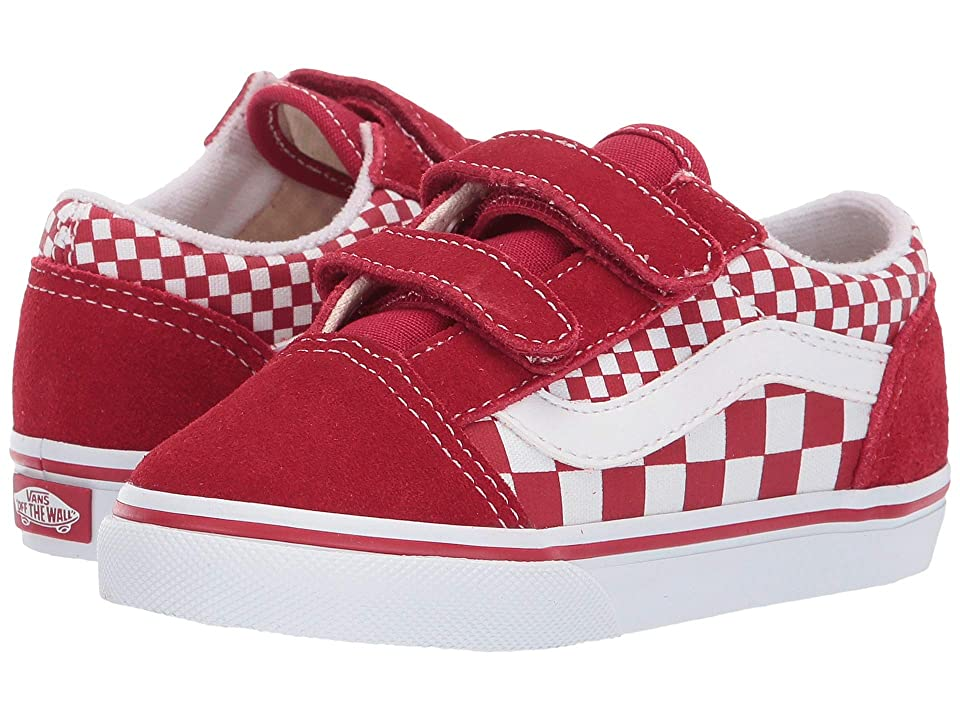 Vans Kids Old Skool V (Toddler) ((Mix Checker) Chili Pepper/True White) Kid