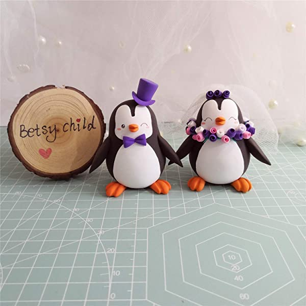 Custom Penguin Wedding Cake Toppers Bride And Groom Figurines Handmade Fully Customizable Unique Keepsake