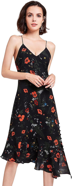Alisa Pan V Neck Floral Print Spaghetti Straps Casual Dresses 05900