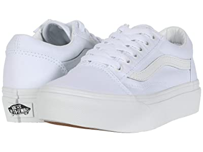 Vans Kids Old Skool Platform (Little Kid) (True White/True White) Kid