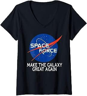 Womens Trump NASA Space Force Make The Galaxy Great Again Fun Gift V-Neck T-Shirt