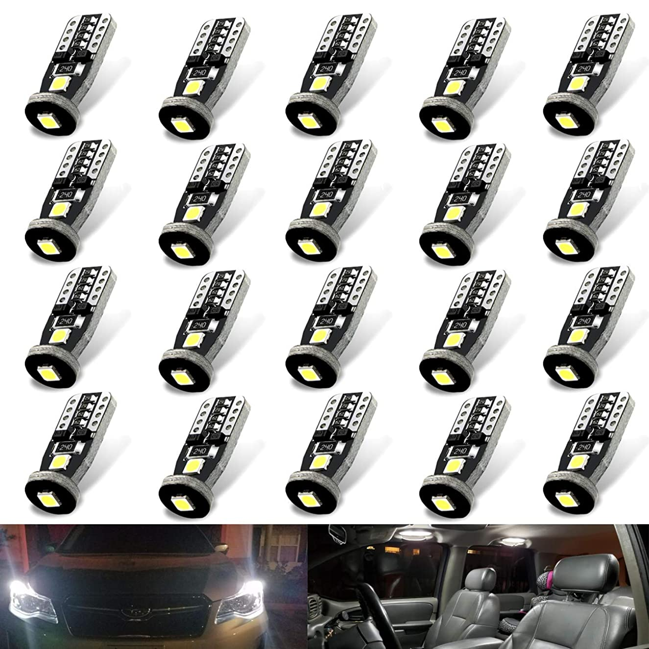 20/Pack 3030 Chipset LED Bulbs for Car Interior Dome Map Door Courtesy License Plate Lights Compact Wedge T10 168 194 2825 Xenon White Pack of 20