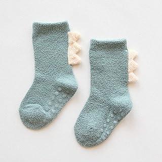 TZOU Newborn Babies Cartoon Anti-Skid Coral Fleece Stereo Baby Socks Medium Stockings 0-3 Years Old Green L Code 3~5 Years...
