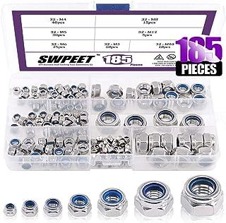 Swpeet 185Pcs 304 Stainless Steel Metric Lock Nut Assortment Kit Perfect for lock Washers, Nylon Insert Locknut M3 M4 M5 M6 M8 M10 M12