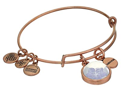 Alex and Ani Duo Charm Mantra Bangle Bracelet (Rose Gold/Wildflower Mantra) Bracelet