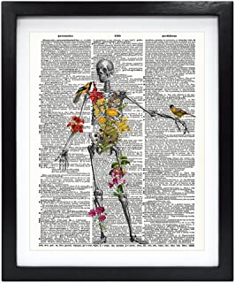 Susie Arts 8X10 Unframed Human Skeleton full of naure Upcycled Vintage Dictionary Art Print Eco Friendly Book Art Print Home Decor Wall Art Anatomical decoration V127